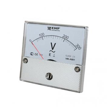 Вольтметр VM-A801аналоговый на панель 80х80 (круглый вырез) 500В прямое подключение